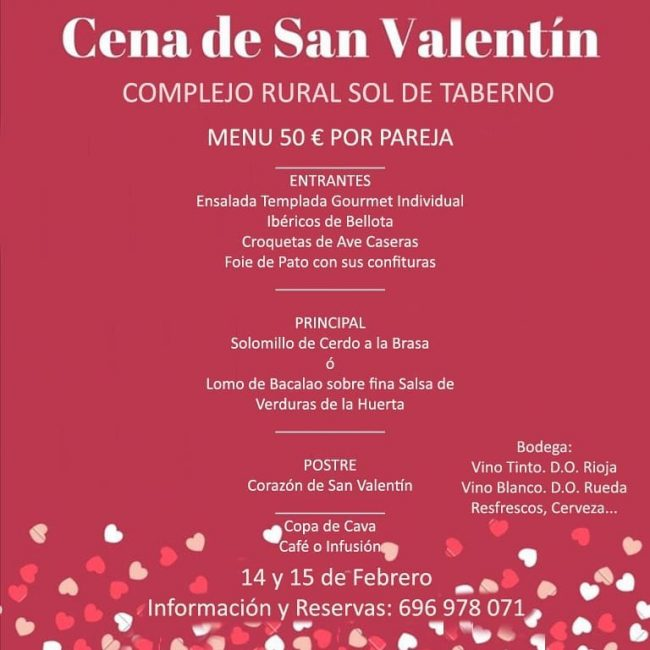 Cena de San Valentin Sol de Taberno